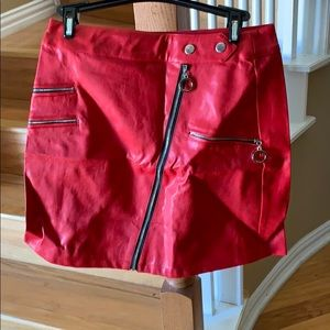 Red Moto leather skirt